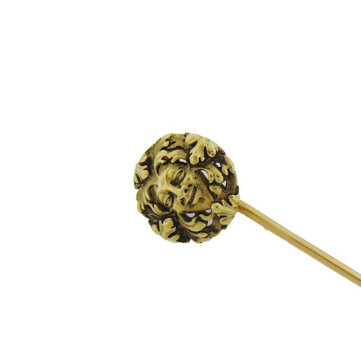 Wiese Art Noveau Gold Face Stick Pin