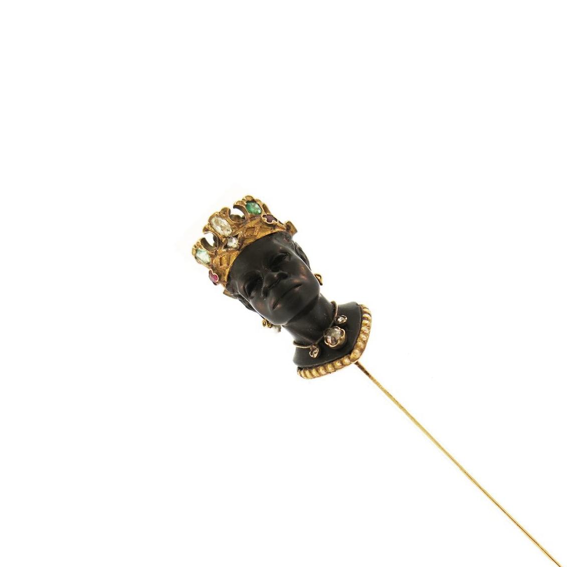 Vintage Blackamoor Gem-Set Stick Pin