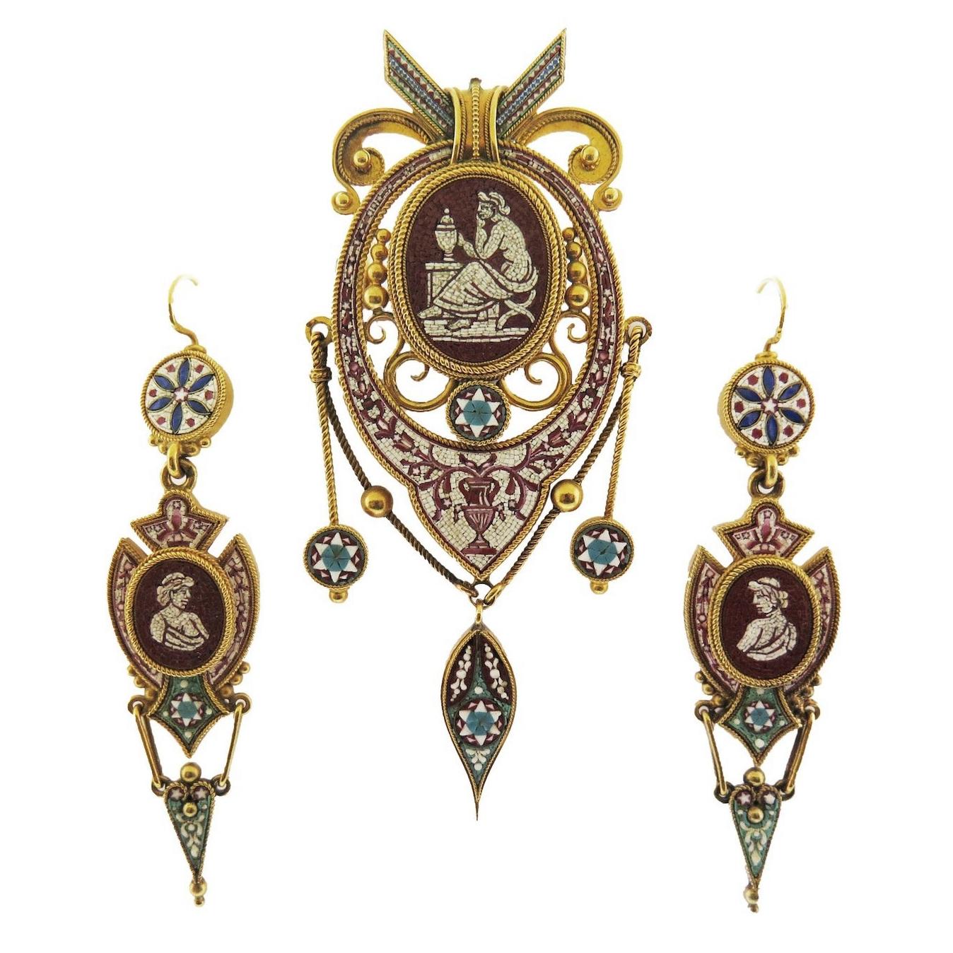 Micro Mosaic Set - Brooch and Earrings