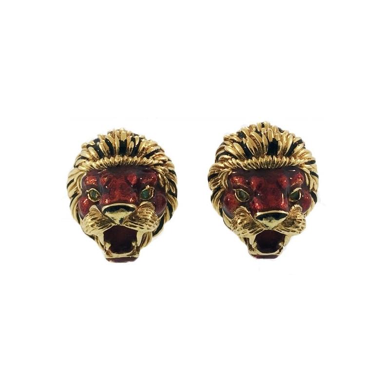 Frascarolo Enamel Lion Cufflinks