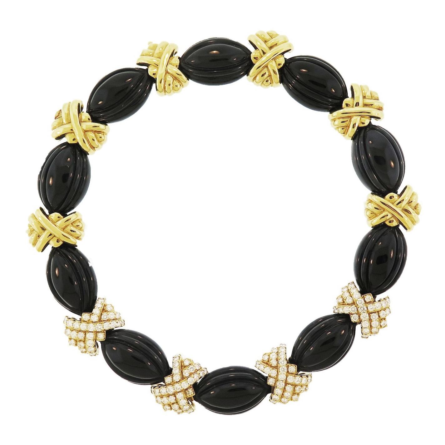 1960s Hammerman Bros. Onyx and Diamond Necklace