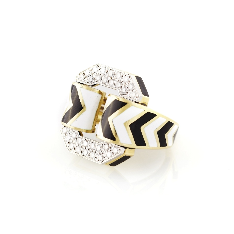 David Webb White and Black Enamel Diamond Ring