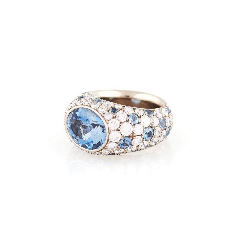 Hemmerle Aquamarine and Diamond Platinum Ring