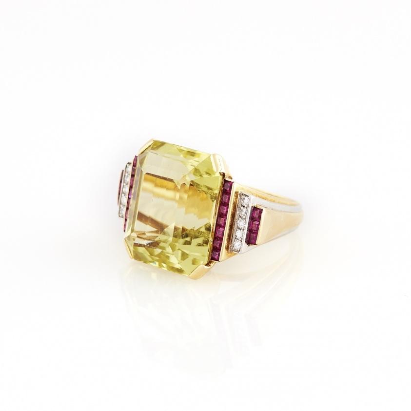 Beryl, Ruby, and Diamond Gold Ring