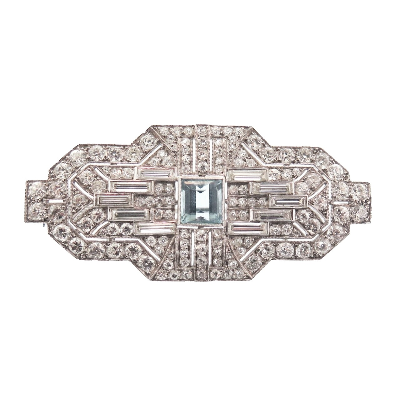 Art Deco Diamond and Aquamarine Brooch