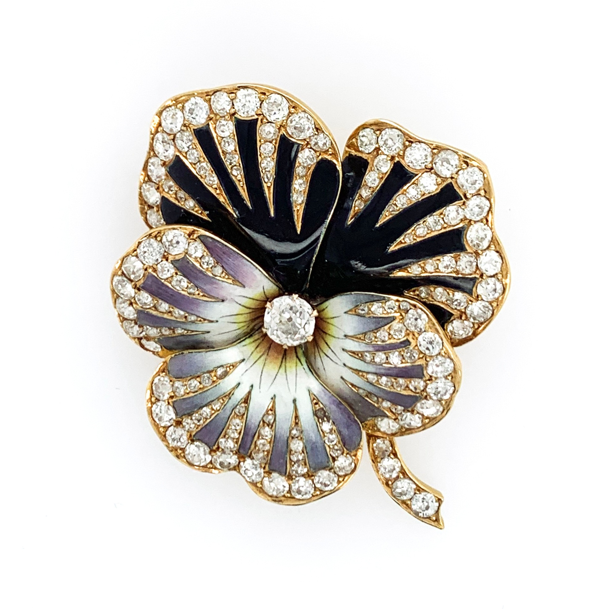Enamel and Diamond Pansy