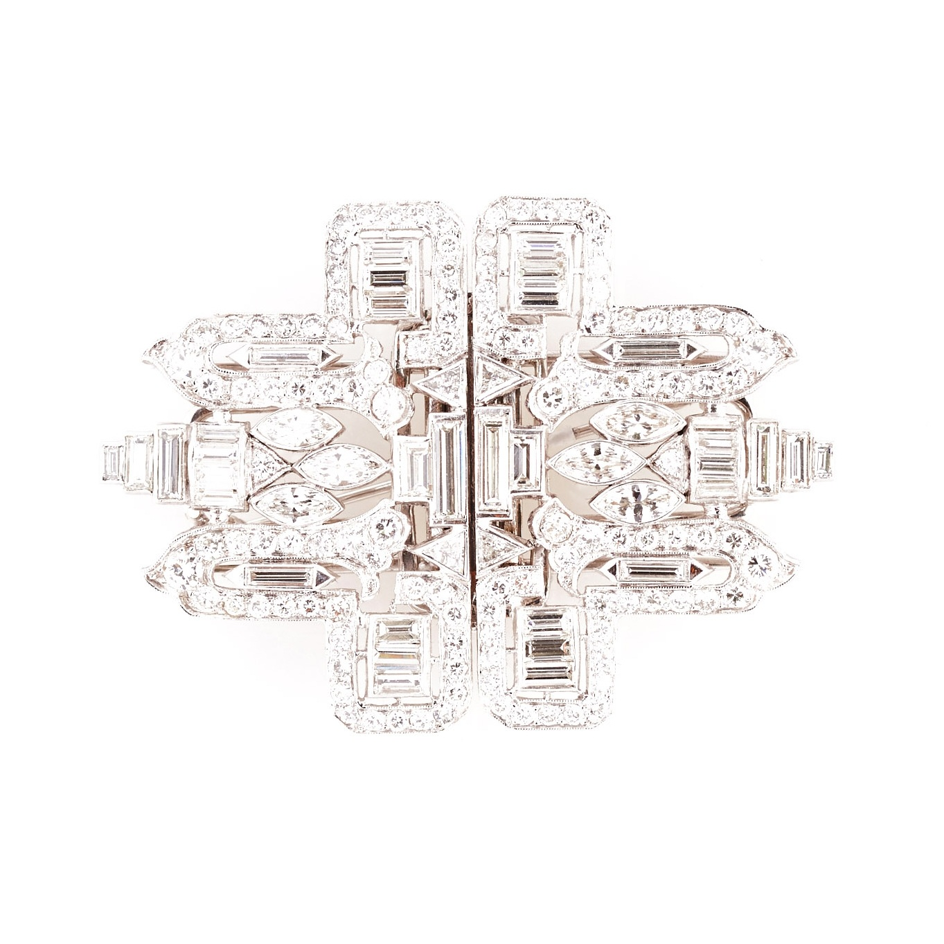 Art Deco Platinum and Diamond Dress Clips