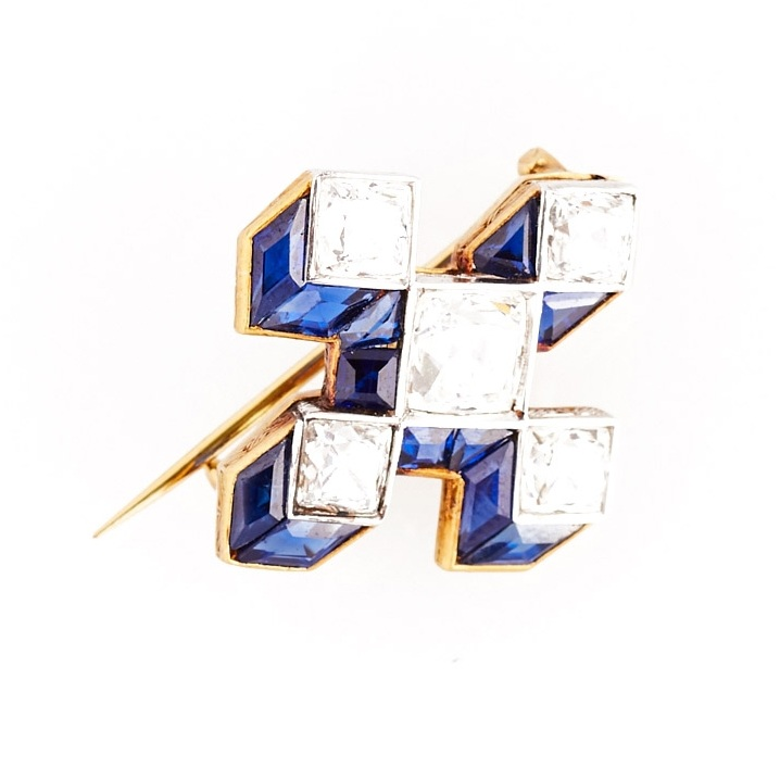 French-Cut Diamond and Sapphire Illusion Pin