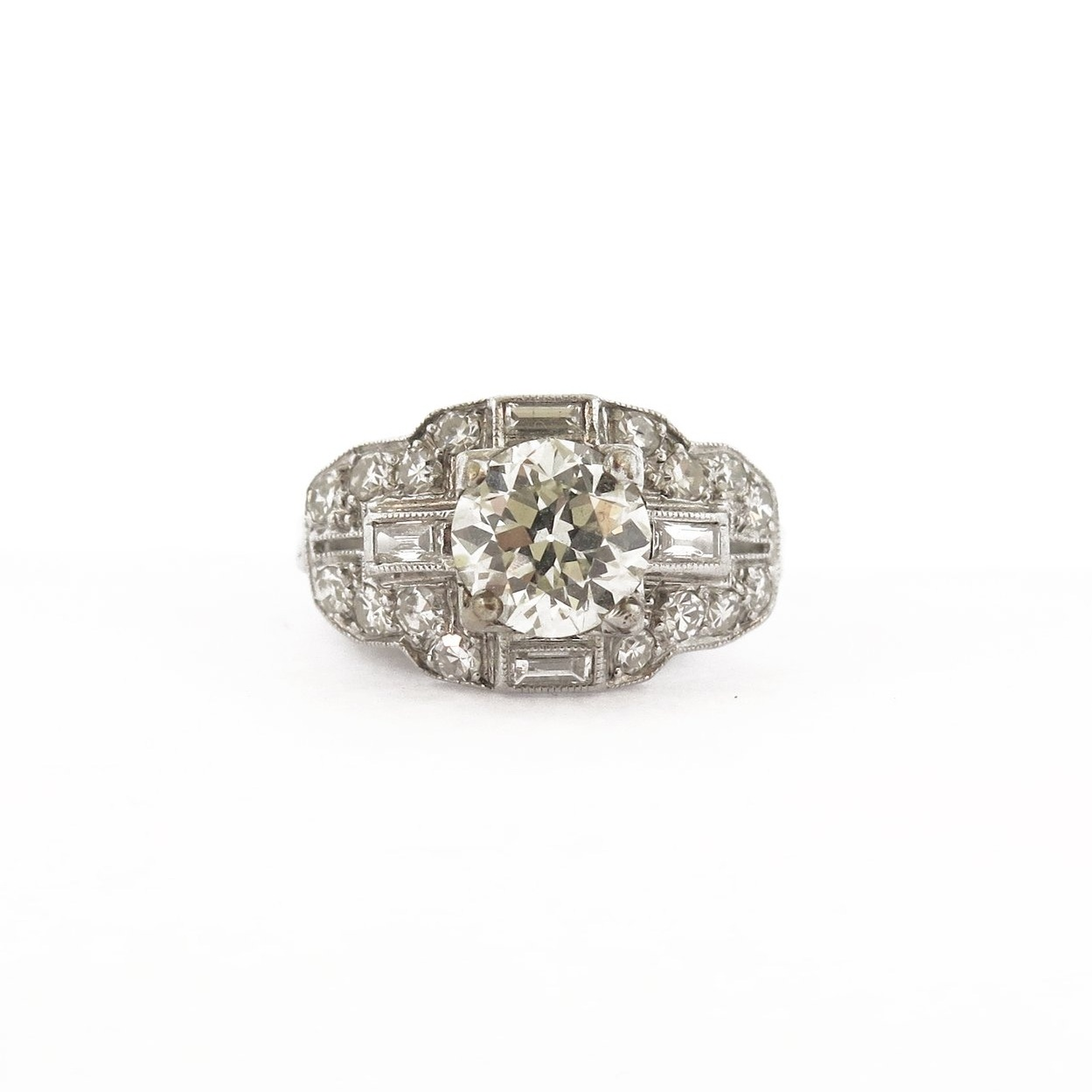 1.5 ct Diamond & Baguette Accent Ring