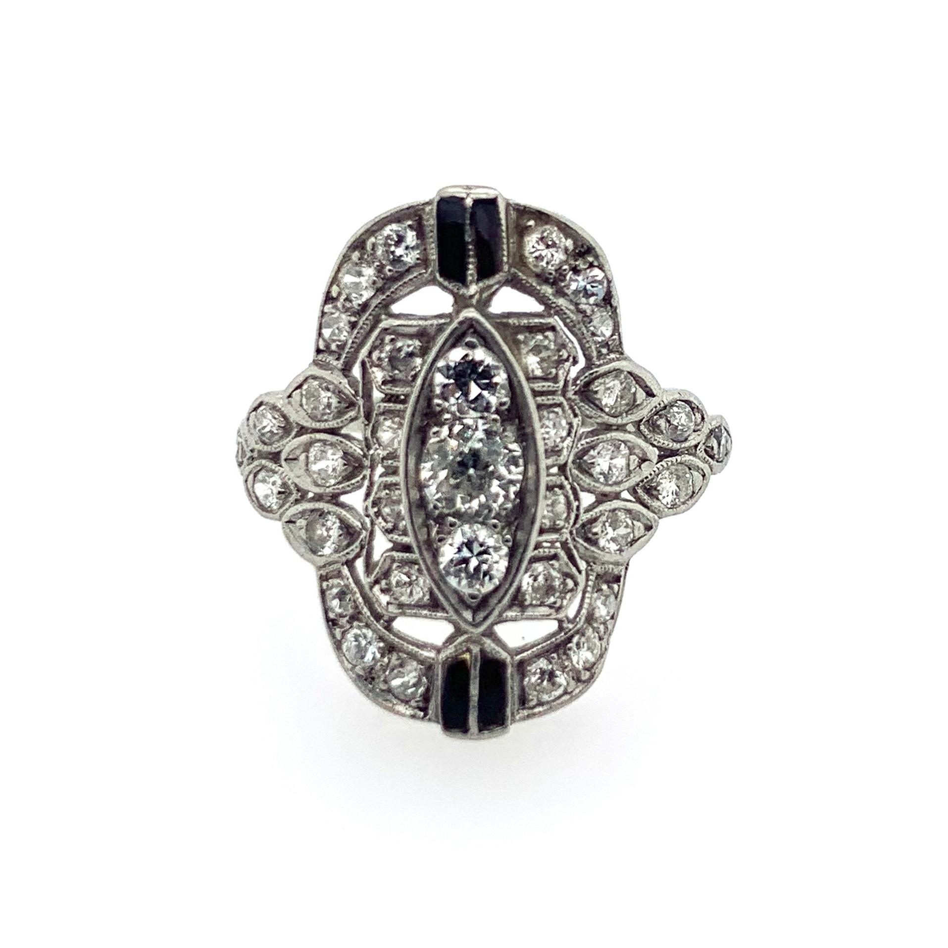 Art Nouveau Diamond Ring with Onyx