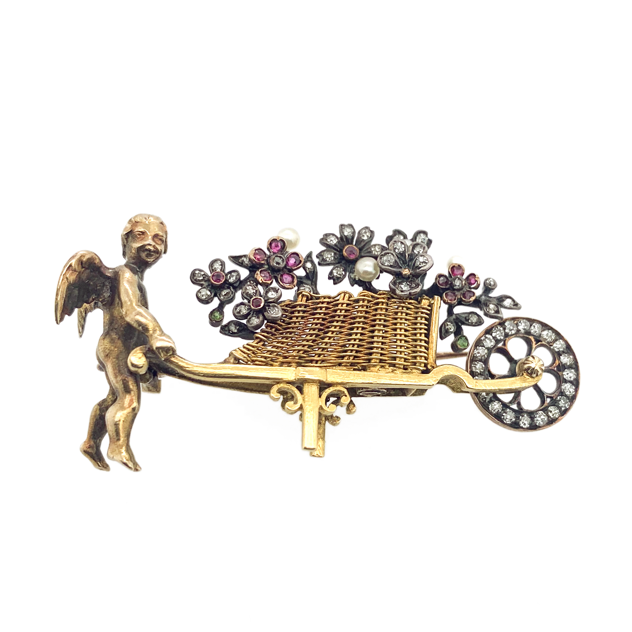 Cherub Brooch with Gems