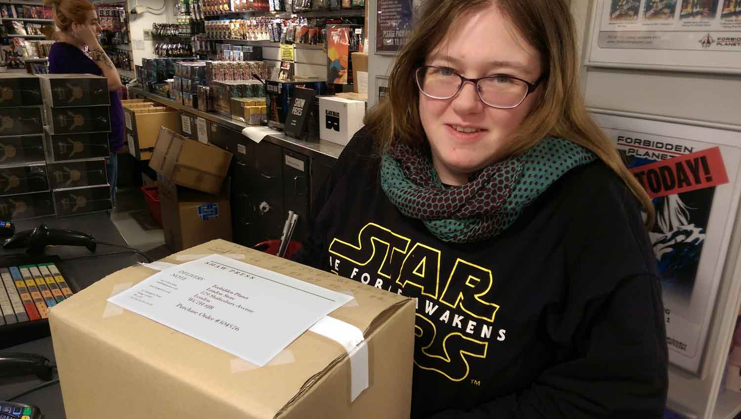 Sian at Forbidden Planet's London Megastore taking delivery of Sebastian's Memoirs ready for sale on 21st of October.