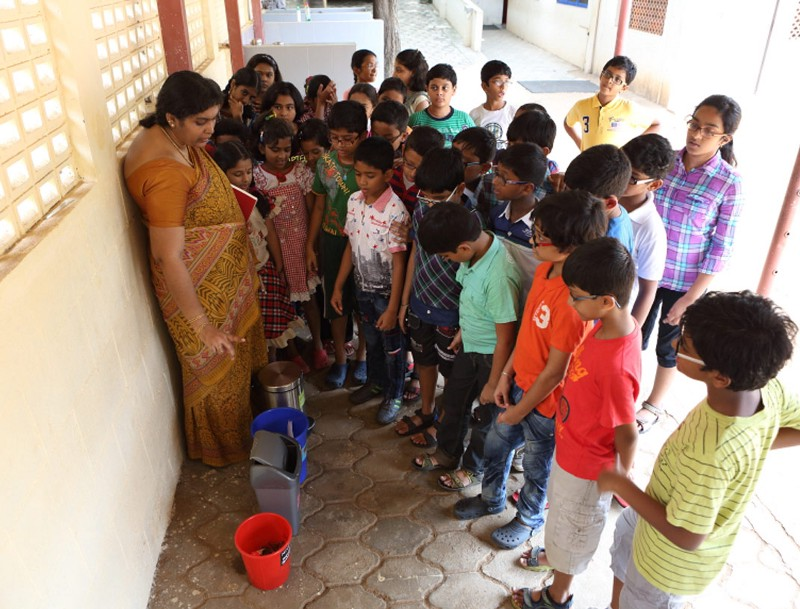 Introducing children to waste segregation at Arsha Vidya Mandir,Chennai