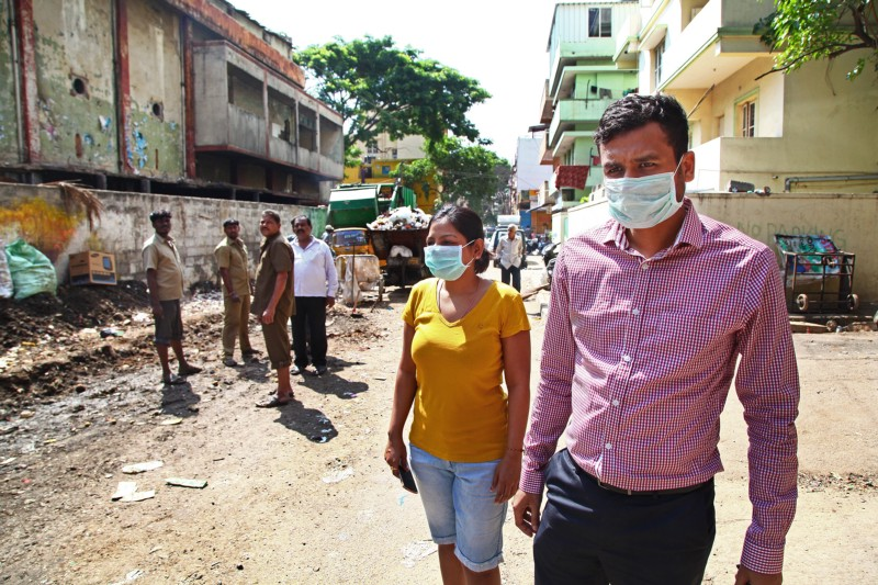 BBMP staff and volunteers clean up a site of unsegregated waste