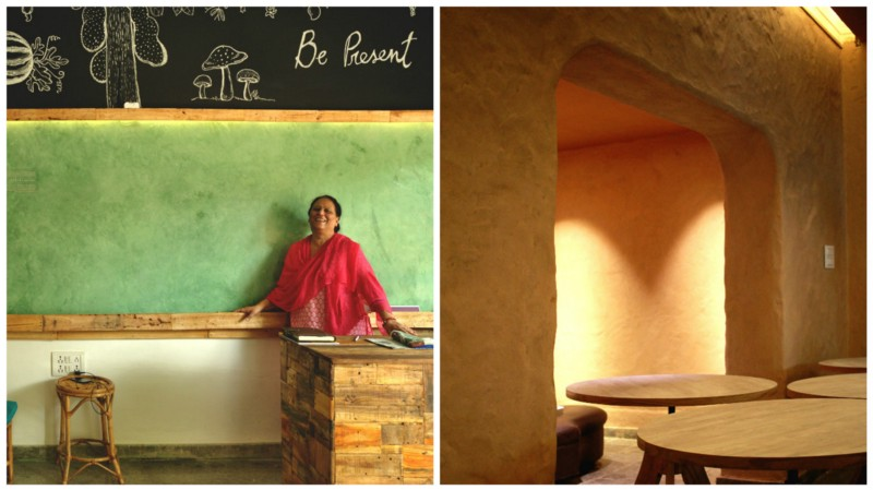 A tadelakt wall at a cafe in Mysore   (left) and natural plaster on a restaurant wall in Bangalore