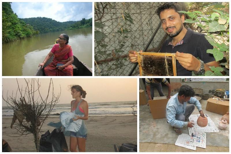 The parindey: (clockwise from top left)—Shanti Nayak, Amit Godse, Brijendra Prajapati, Jill Ferguson