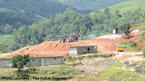 The construction for the Government Veterinary College destroying the shola grasslands - our water sink.