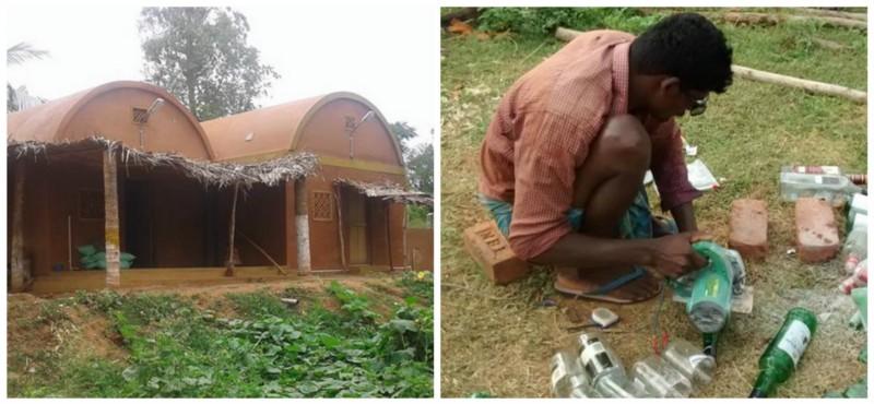 Left: Nesara Farmhouse; Right: Recycling glass bottles into bricks Source:   Facebook