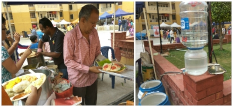 No plastic disposables were used at the food or drinking water stalls.