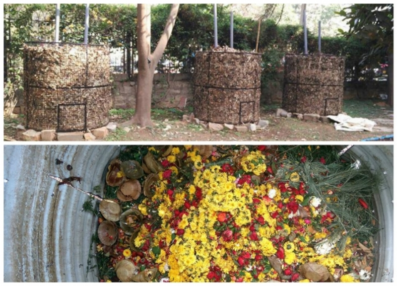 Leaf composters at Gopalan Grandeur (above) and composting of flowers and leaf plates