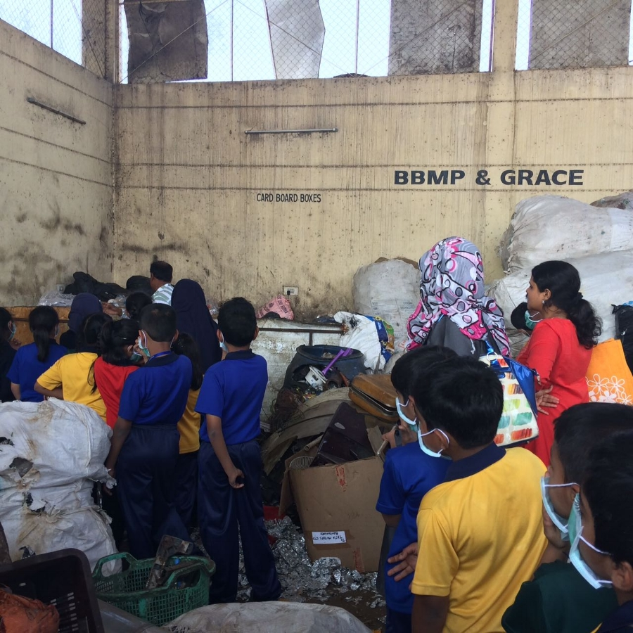 Students visit a Dry Waste Collection Centre