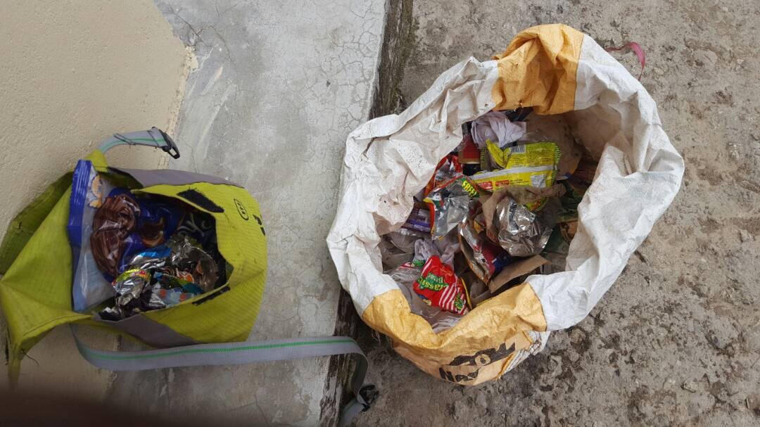Trash collected along the trail. Image credit: Anuradha GR