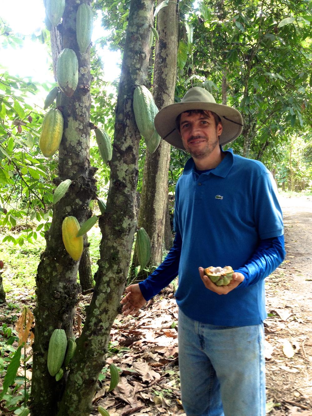 Farm manager Vicente Norero at Camino Verde farm in Ecuador. Image credit Simran Sethi