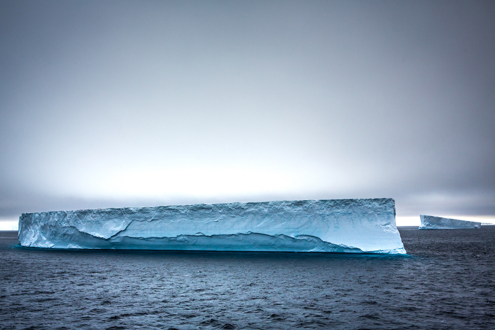 A tabular iceberg from our deck.  Image courtesy Trenton T Branson