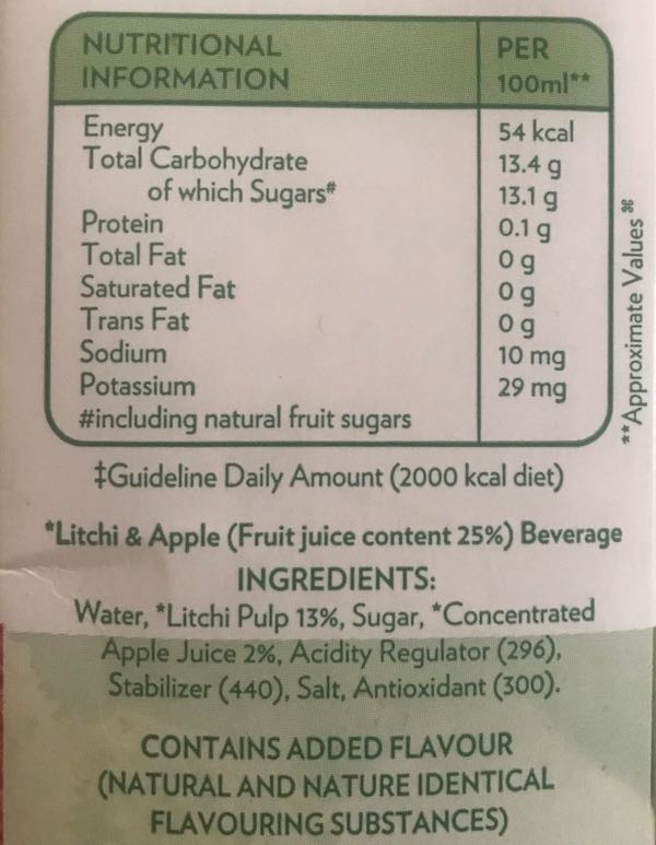 Sample packaged juice nutrition label. Image: Eartha