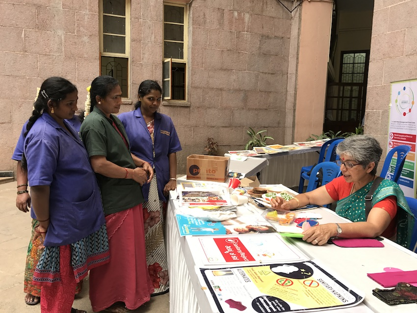 Dr Meenakshi Bharat talks to BBMP workers about sustainable menstruation