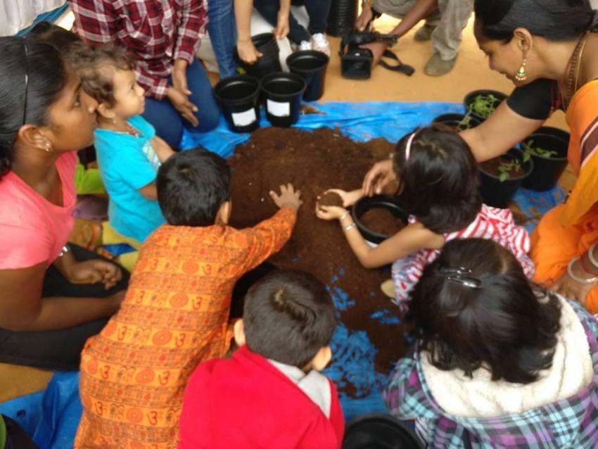 Composting and gardening workshops for children are a hit at the Santhe Image: Vaijayanthi Madabushi/ Facebook