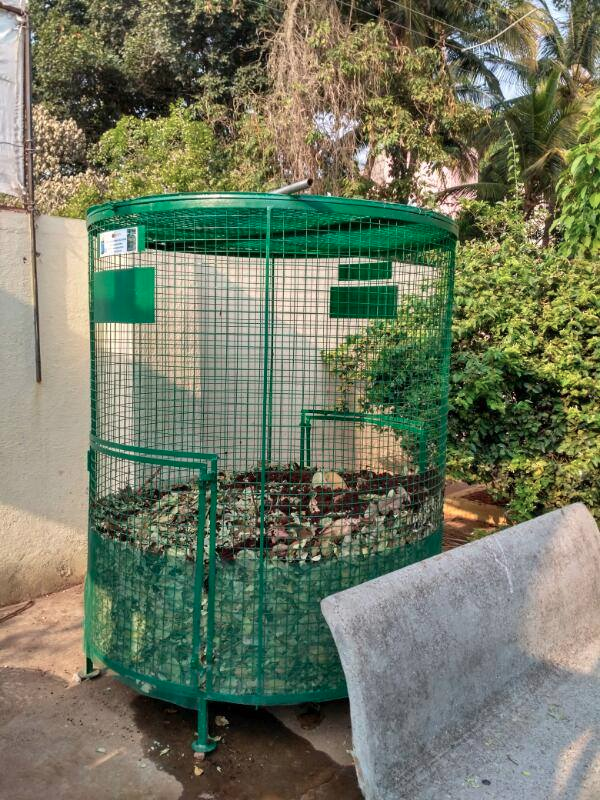 Leaf composters installed in public places and residential complexes.