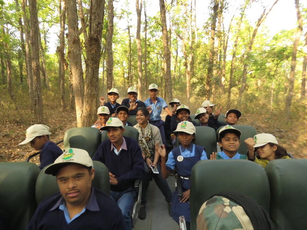 Children on a safari at Kanha