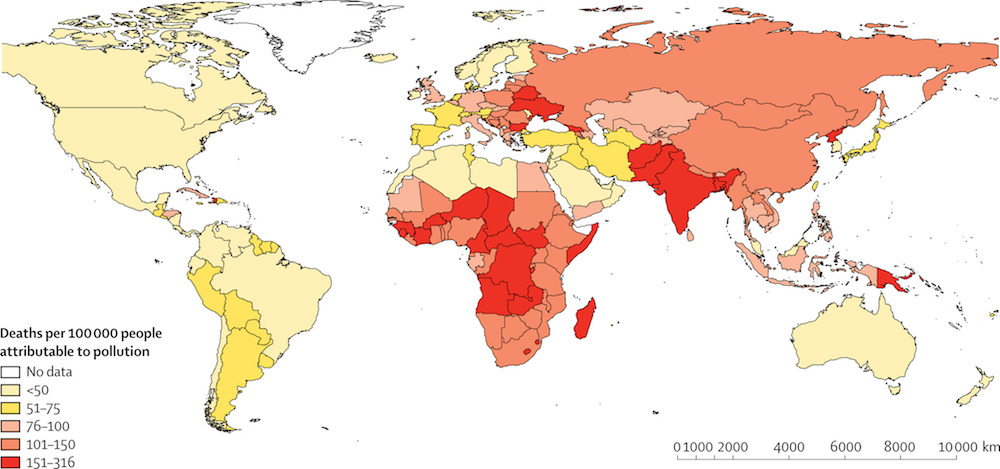 Number of deaths per 100 000 people that are attributable to all forms of pollution, 2015 Image: The Lancet