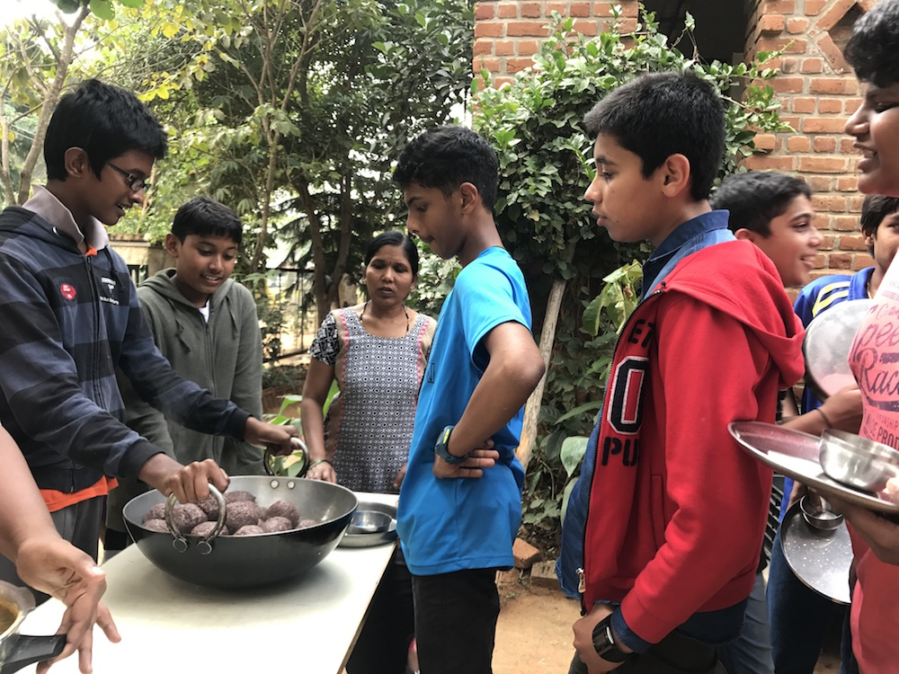 Community lunches at school regularly feature a ragi dish.