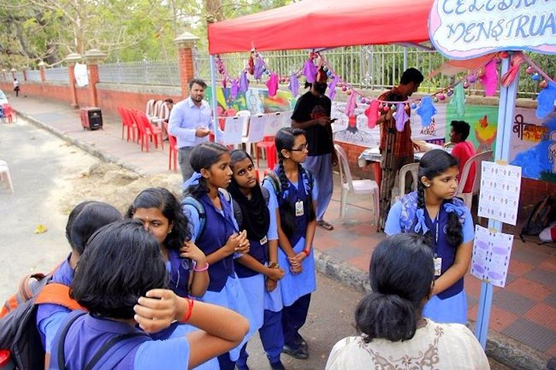 Stalls educating participants on the ecological and health benefits of sustainable menstrual hygiene products. Source: Facebook/ Aarthava Yaanam