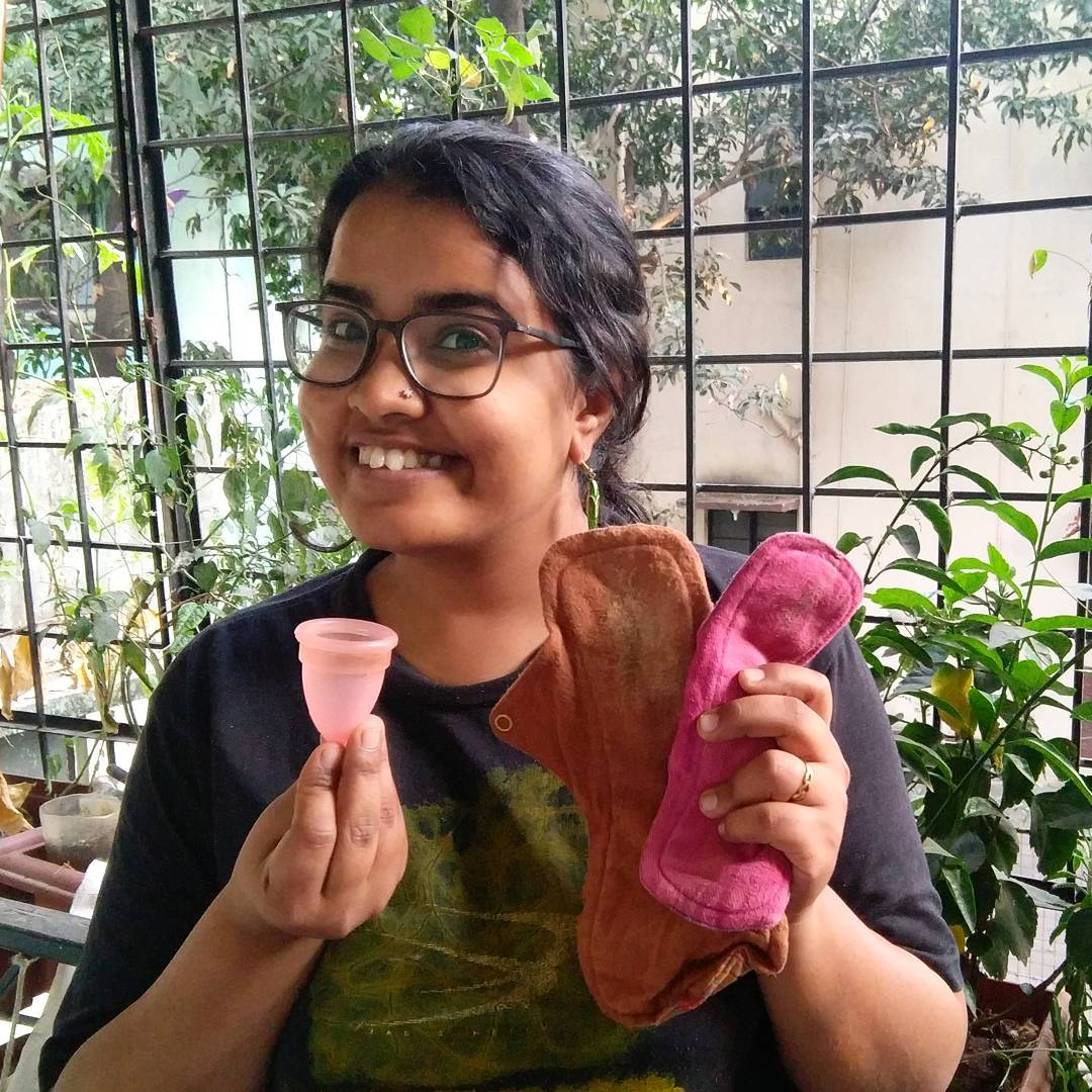 Taking the #CupandCloth Challenge. Image: Facebook/Hamsa Iyer
