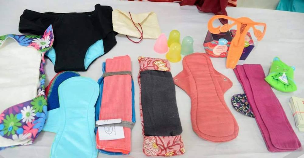 A range of eco-friendly menstrual cups and cloth pads are now easily available in India. image: Facebook/ Green The Red