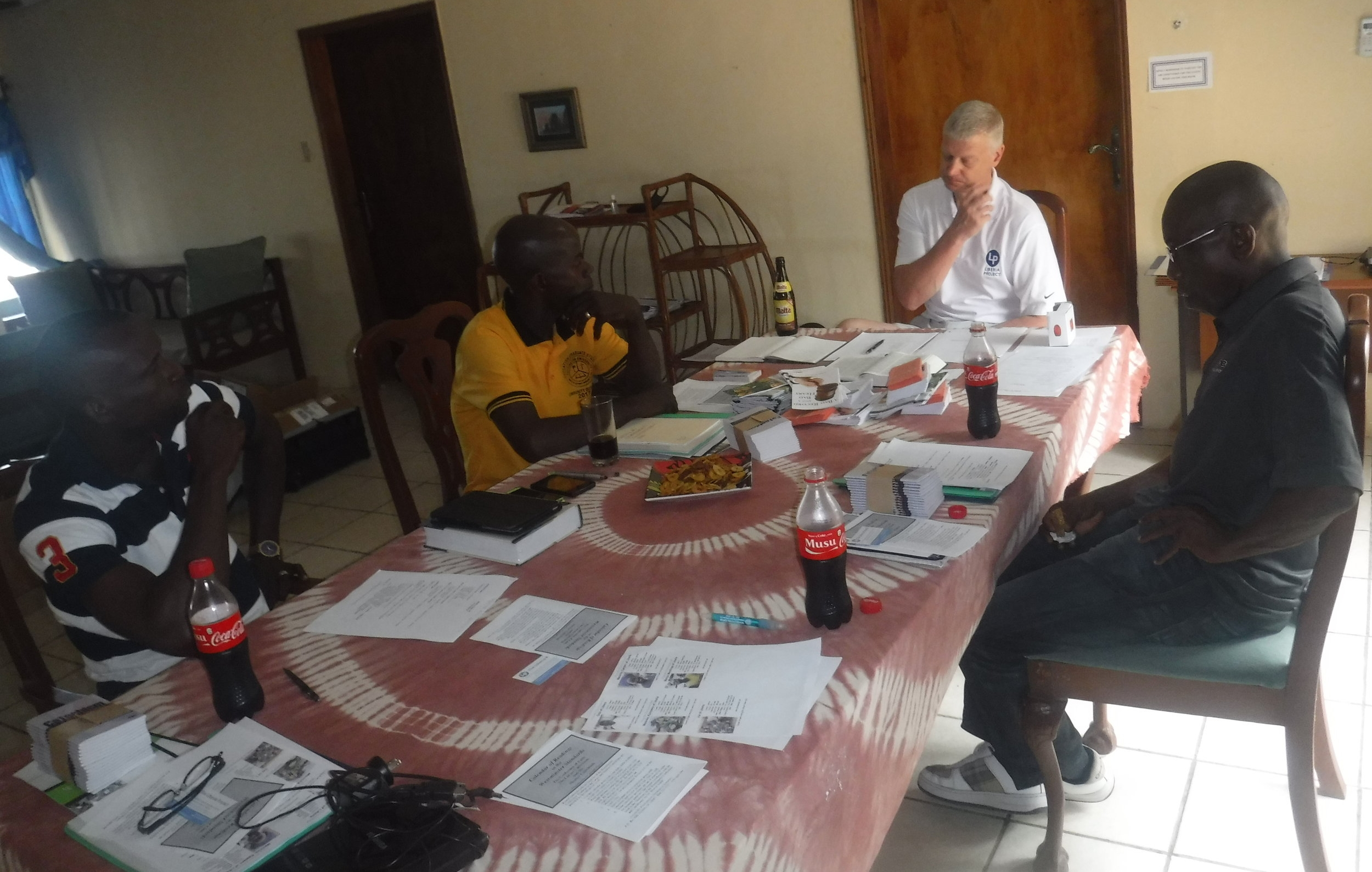In April of 2017 Pastor Elijah Debah, Pastor William N'gufuan,Pastor Tim Worrell, and Pastor Sabato Kehdon met to discuss the establishment of a Presbytery.  Mr. Jonathan Bettie was present and took the picture.