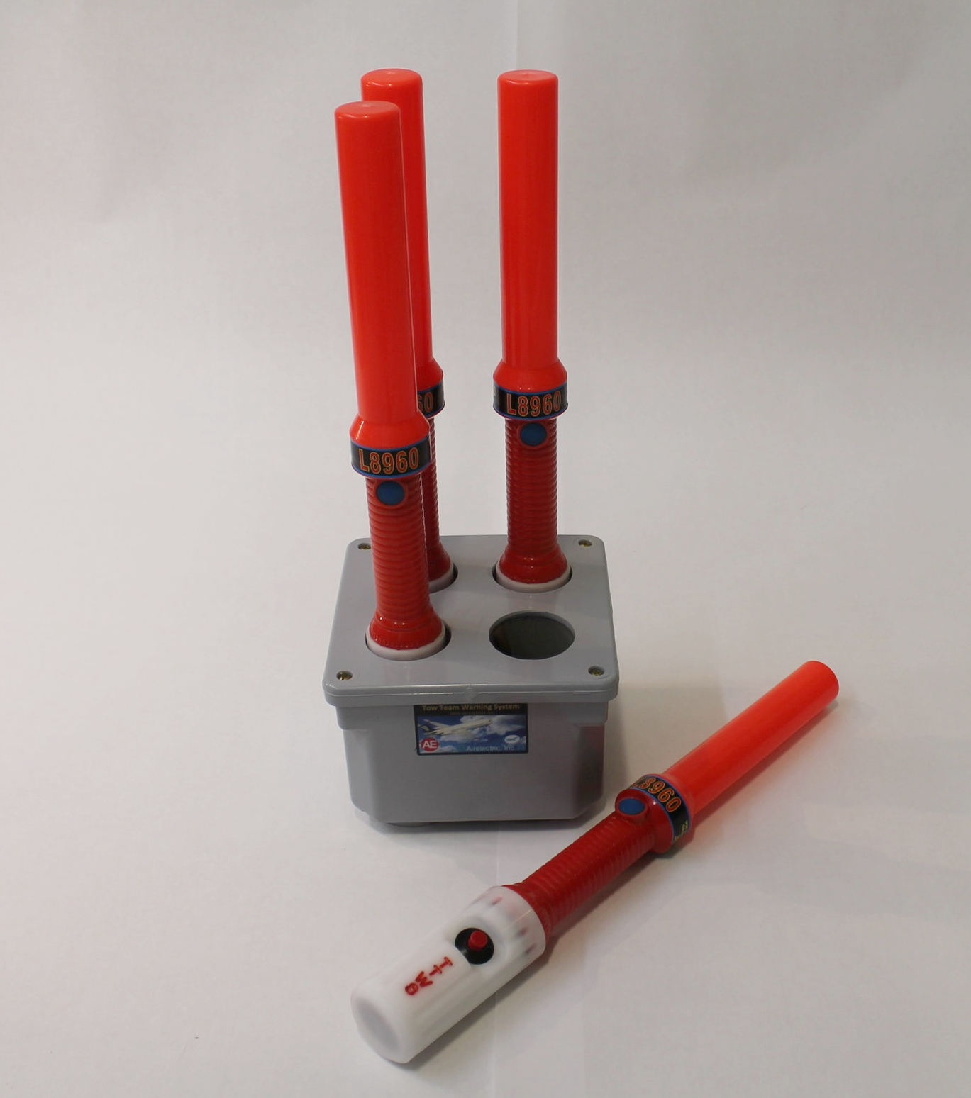 """SET OF FOUR (4) LIGHTED WANDS.  Each with push-button to alert tug driver to """"Stop"""". Push button will cause lights to flash on tug and aural warning to sound."""