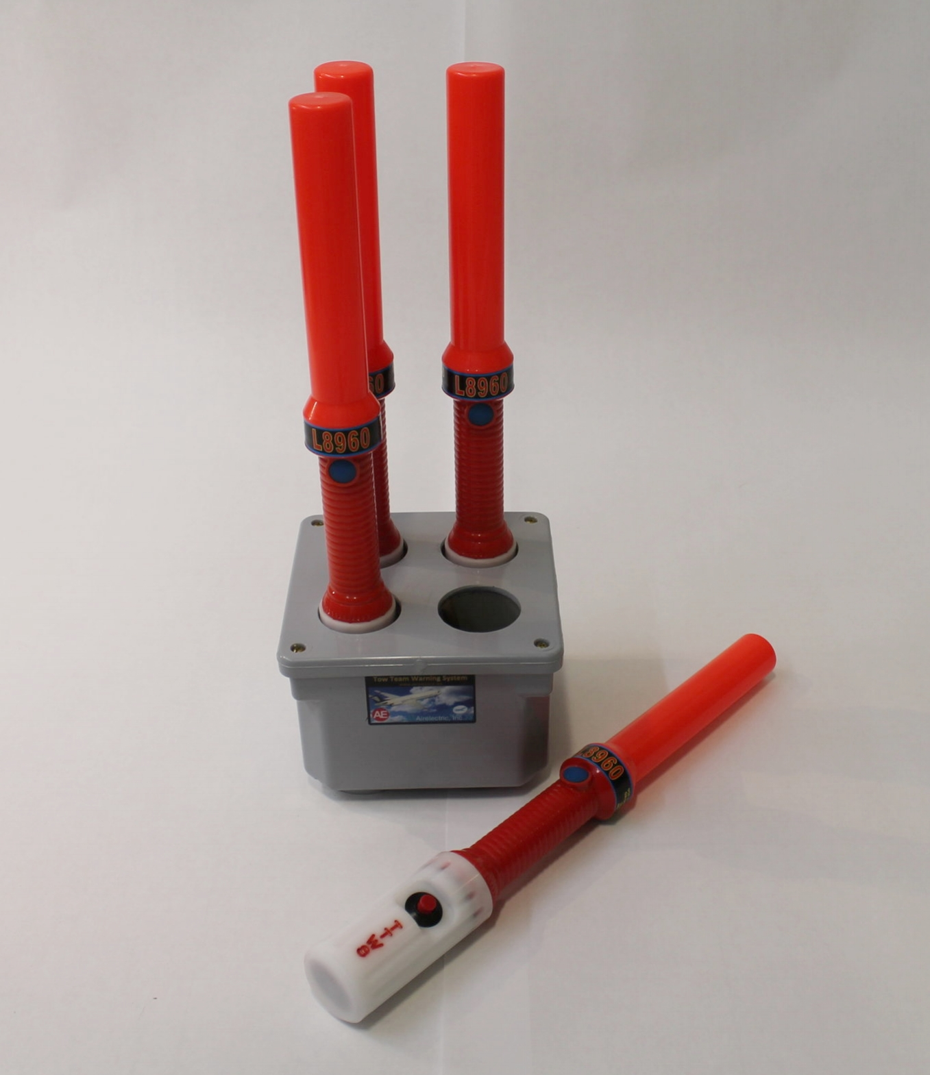 "SET OF FOUR (4) LIGHTED WANDS.  Each with push-button to alert tug driver to ""Stop"". Push button will cause lights to flash on tug and aural warning to sound."