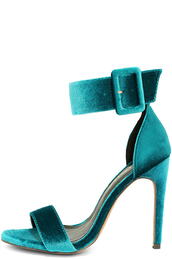 Lulus Love and Luck Teal ankle strap shoe