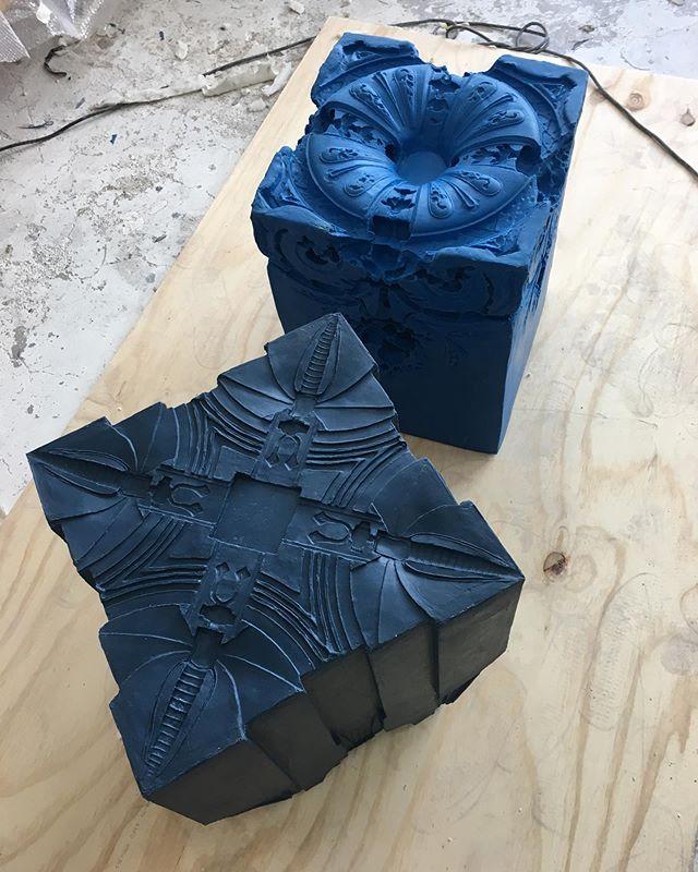 Work in progress 2 Elements of time for @stedelijkmuseum #amsterdam #elementsoftime #stedelijk #museumrestraurant #rubber #objects #contemporaryart #contemporarydesign #dutchdesign #sandraplanken #studionoun #blue #soft #objects