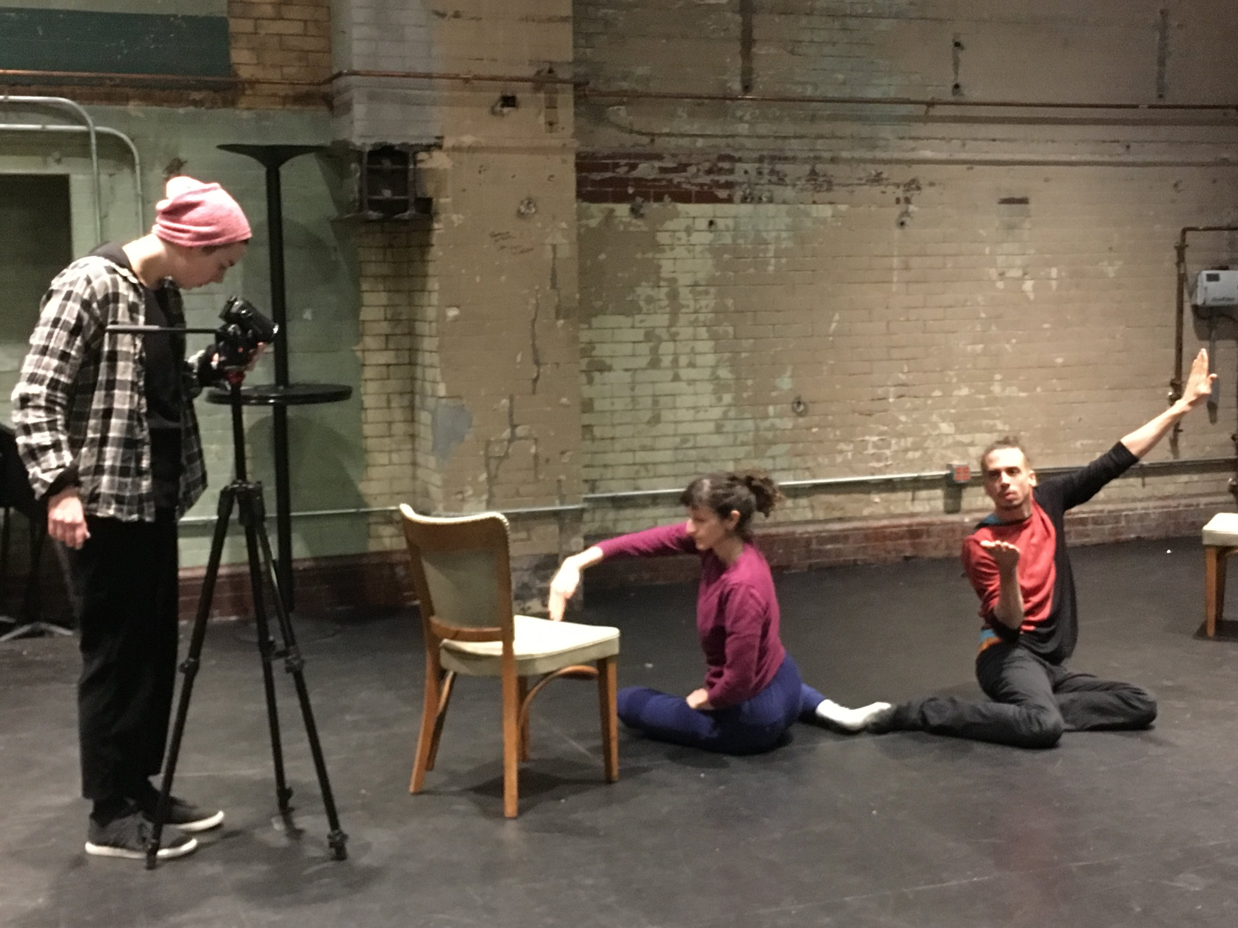 Ellen filming Gabi and Greg at the Philadelphia production residency. Photo: Lila Hurwitz
