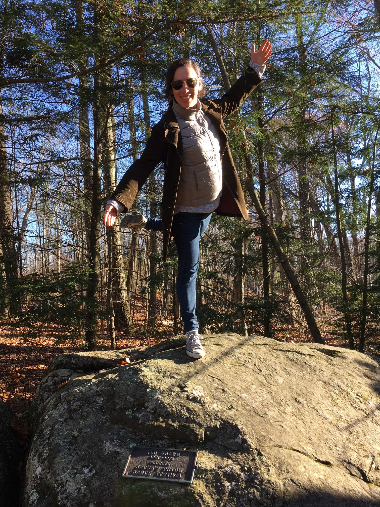 Lila on the famous rock at Jacob's Pillow, during the November 2017 rehearsal residency. Photo: Daniel Doolittle