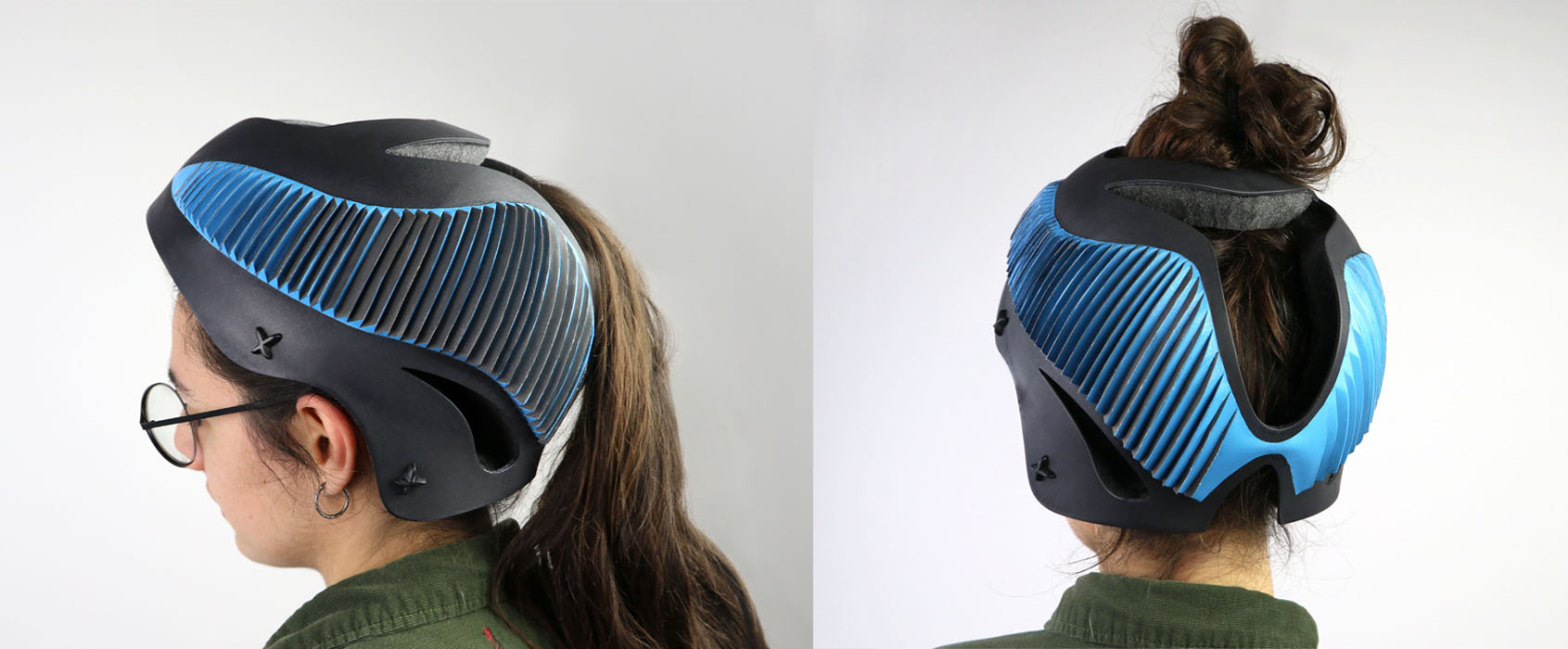 The organic form of the helmet not only strengthens the structure, but also makes it effective. It is easy for women with pony tails to wear because of the opening at the top.