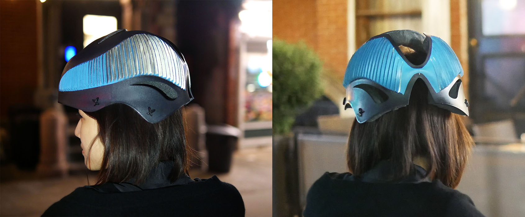 When a cyclist wants to make a turn, he/she will look behind to check whether or not it is safe. The changing angle will cause the reflective material on the helmet to detect the lights from the headlight of the car behind. The helmet will spot automatically following the cyclist's head gesture without any additional power.
