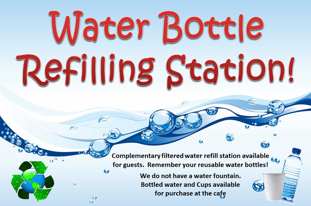 Complimentary filtered water bottle refill station for guests!