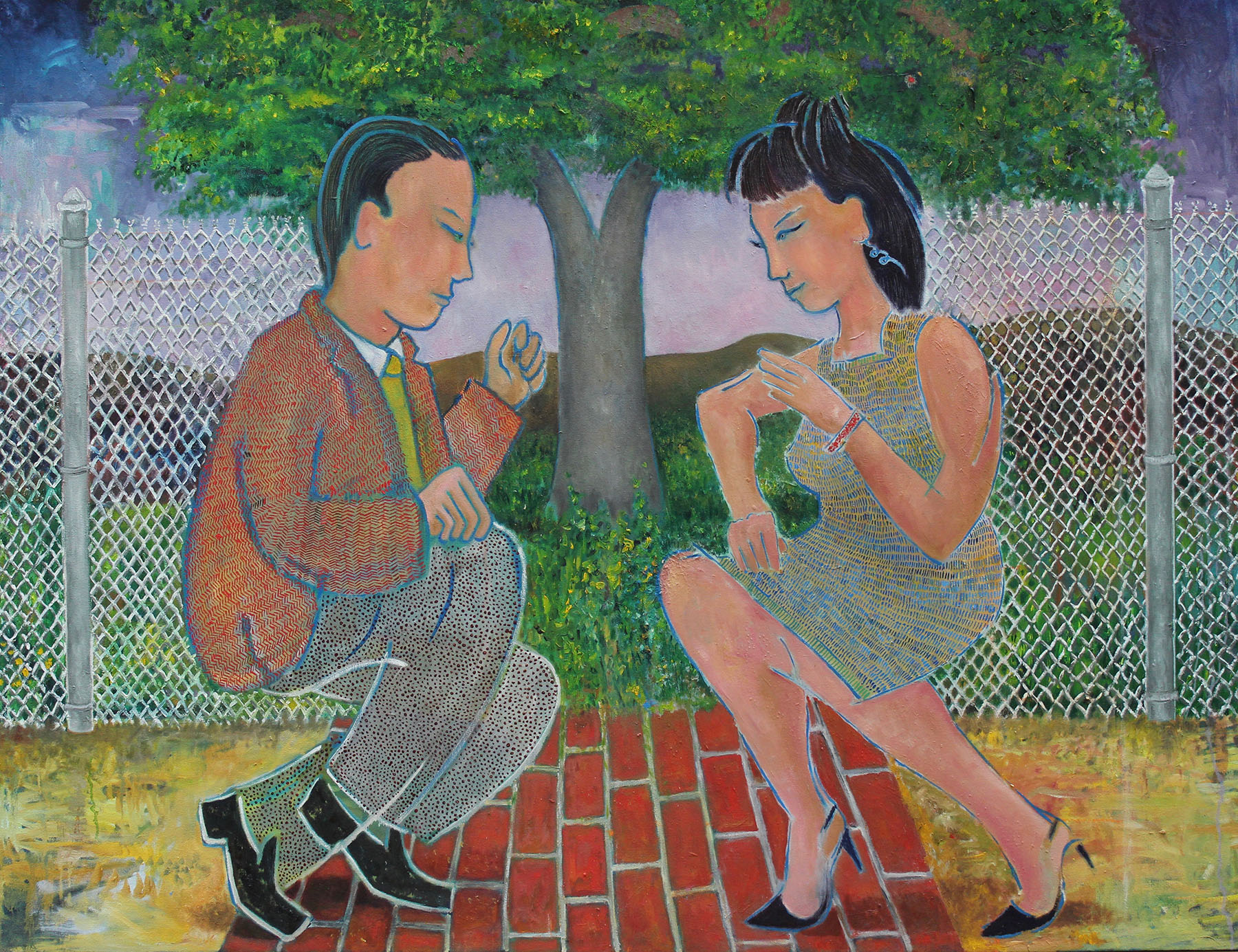 """Lonergan, """"Each Other"""" , oil on canvas, 47"""" x 60"""""""