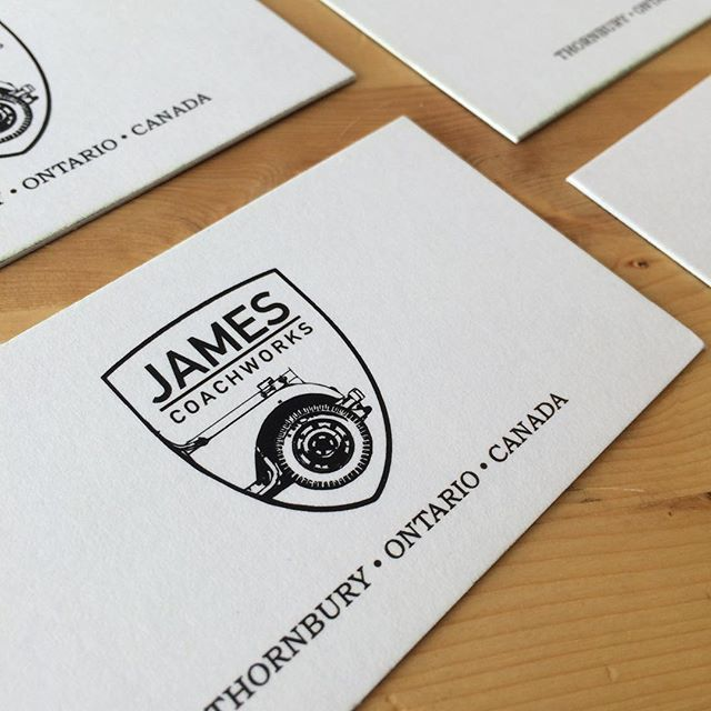 #JamesCoachworks branded and printed in-house on a rugged 28pt uncoated stock #printshop #makinstuff #supportlocal #mechanic #landroverdefender